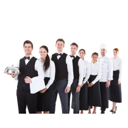 Large group of waiters and waitresses standing in row. Isolated on white