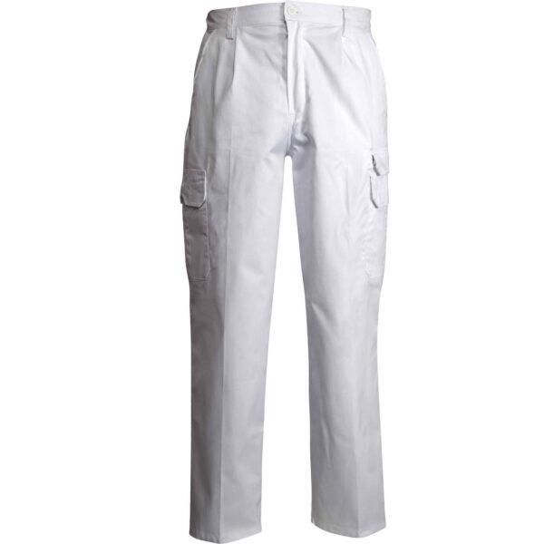 pantalone multitasche bianco