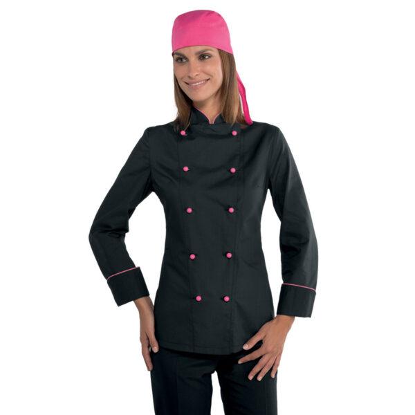 giacca-lady-chef nera con profili rosa