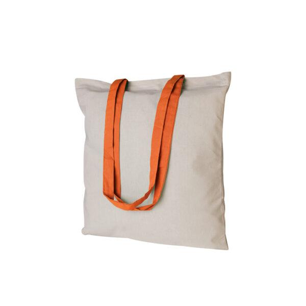Borsa shopping bianca con manico arancione