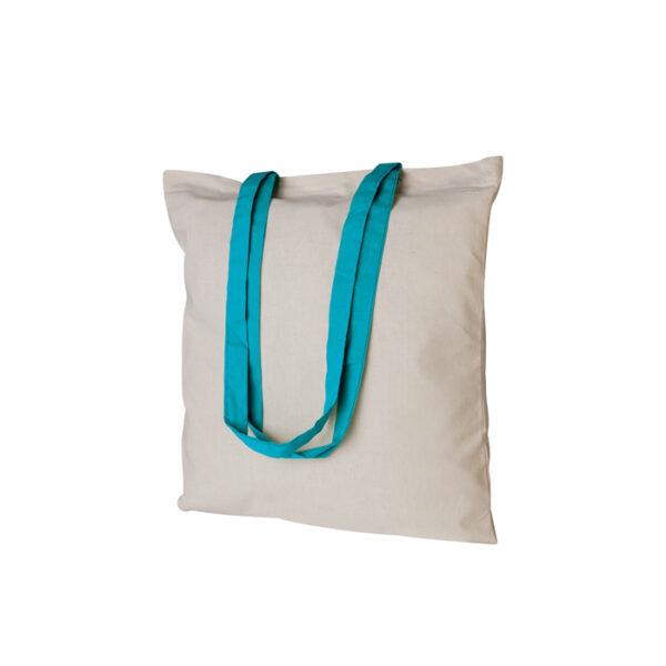 Borsa shopping bianca con manico azzurro