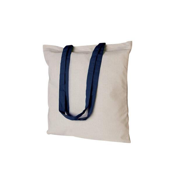 Borsa shopping bianca con manico blu