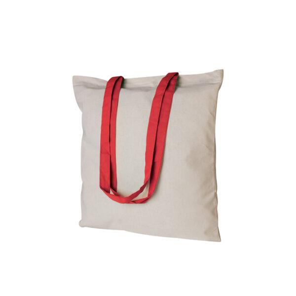 Borsa shopping bianca con manico rosso