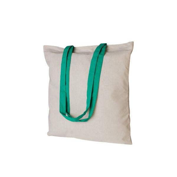 Borsa shopping bianca con manico verde