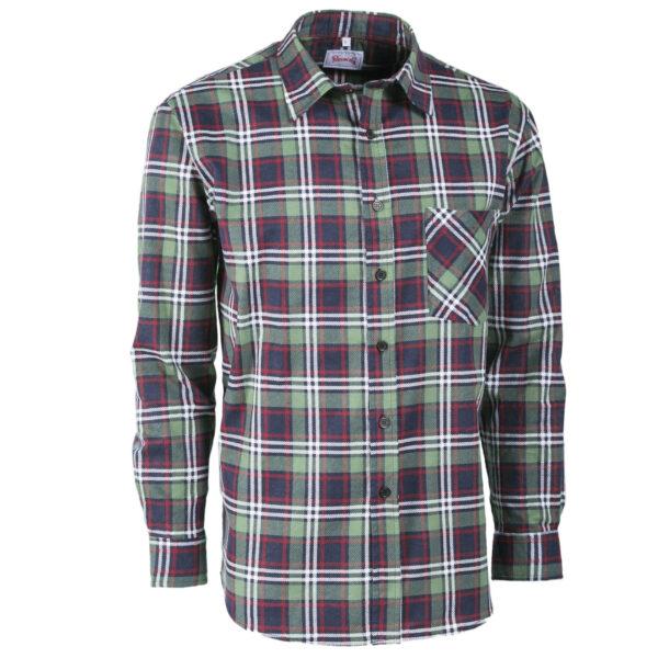 camicia flanella scozzese verde rossa