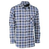 camicia flanella scozzese blu manica lunga