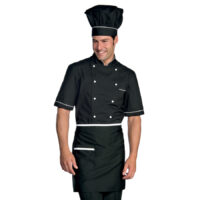 giacca-cuoco-manica corta nero bianco