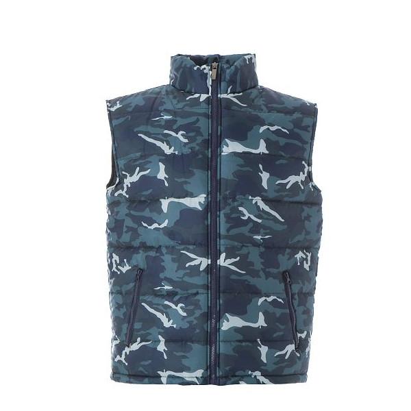 gilet imbottito uomo camouflage blu